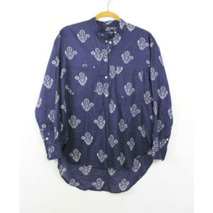 Madewell Small Popover Top Blue Long Sleeve Floral